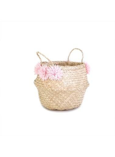 Kanca Ev Pembe Çiçekli Katlanır Göbekli Hasır Sepet, 30 Cm. Pembe